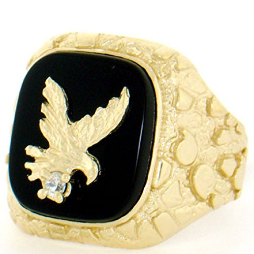 - 14k Solid Yellow Gold Nugget Onyx Eagle Mens Ring