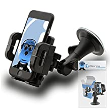 Black Multi-Directional Dashboard / Windscreen, Case Compatible (Use with or without your existing case!) Clip On Suction Mount In Car Holder For Sony Xperia LT28I Ion LTE