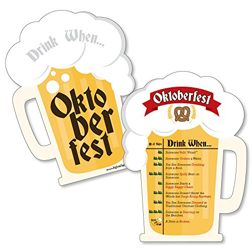 Oktoberfest - Drink When Biergarten Game Cards - German Beer Festival Drinking Game - 20 Cards by Big Dot of Happiness
