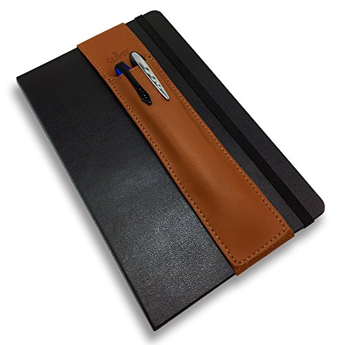 QUIVER Pen Holder For Notebooks|Stylus Holder For Tablets|Elastic/Reusable/Non-Adhesive|For Use With Moleskine/Leuchtturm1917/Rhodia & iPad Mini 1/2/3/4 8-8.5 Inches(Brown Leather/Brown Stitching)