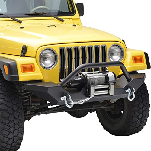 E-Autogrilles 87-06 Jeep Wrangler TJ/YJ Off Road Front Bumper with 2x D-ring & Winch Plate (51-0034) (Bumpers For 1998 Jeep Wrangler compare prices)