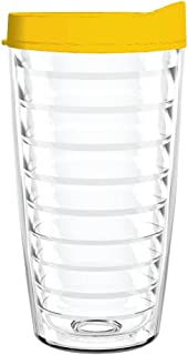 product image for Smile Drinkware USA-Clear 16oz Tritan Insulated Tumbler with Yellow Lid and Straw