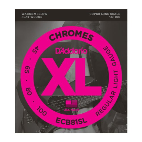 D'Addario ECB81SL Chromes Bass Guitar Strings, Light, 45-100, Super Long Scale (Medium Long Scale)