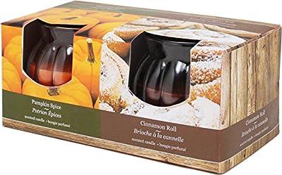 Kiera Grace Jar Candle, Pumpkin Spice and Cinnamon Roll Fragrance, 3-Ounce, Pack of 2
