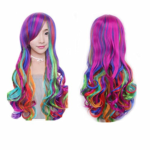 Witch Rainbow Costumes (WeeH Costume Women Wigs Long Hair Cosplay Wig Spiral Curly Wavy Wigs for Wedding Party, Rainbow)