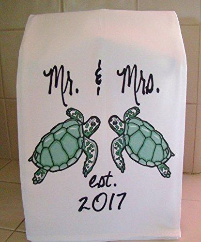Sea Turtle Mr. and Mrs. handmade floursack tea towel