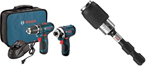 "Bosch Power Tools Combo Kit CLPK22-120 - 12-Volt Cordless Tool Set with 2 Batteries, Charger and Case & ITBHQC201 2 1/4"", Impact Tough Quick Change Bit Holder"