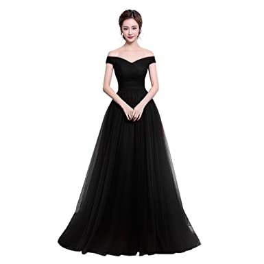 BEBINCA Womens Off Shoulder Long Tulle Prom Dress Bridesmaid Dress Black 2