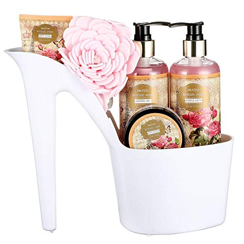 (Draizee Heel Shoe Spa Gift Set - Rose Scented Bath Essentials Gift Basket With Shower Gel, Bubble Bath, Body Butter, Body Lotion & Soft EVA Bath Puff - Best Gift for Mothers Day)