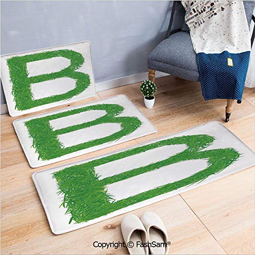 3 Piece Flannel Doormat Kids Baby Boys Children Capital B Name Fresh Growth Environment Ecology Concept Decorative for Kitchen Rugs Carpet(W15.7xL23.6 by W19.6xL31.5 by W15.7xL39.4)