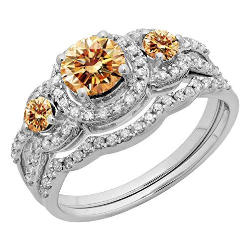 Dazzlingrock Collection 1.40 Carat (ctw) 14K Round Diamond 3 Stone Halo Bridal Engagement Ring Set, White Gold, Size 10