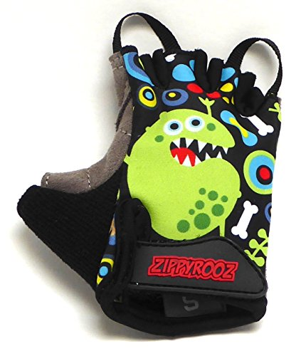 ZippyRooz Toddler & Little Kids Bike Gloves for Balance and Pedal Bicycles (Formerly WeeRiderz) For Ages 1-8 Years Old. 6 Designs for Boys & Girls (ZR Monsters, Little Kids Small (1-2)) (Bicycle 6 Old Years)