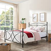 Delmo Classical Matte Black Finished Iron Queen Bed Frame