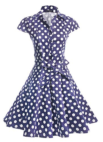BI.TENCON Women's Vintage 50s Blue and White Polka Dots Print Belted Retro Rockabilly Swing Dress with Cap Sleeves Plus Size 2XL -