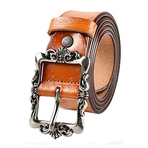 LUXUR Women Embossed Leather Belts Vintage Silver Buckle Fashion Genuine Premium Leather Belts for Pants or Dresses Orange-L (Leather Orange Embossed)