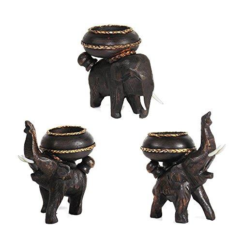 Three Posing Elephants Carved Rain Tree Wooden Tealight Candle Holder Set