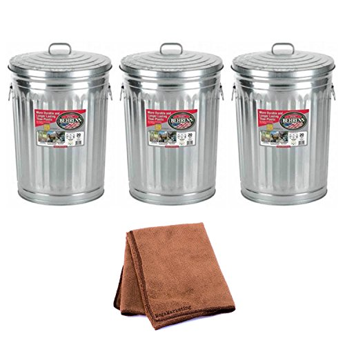 Garbage Can With Side Drop Handles - 20 Gallon, 3-Pack with Cleaning Cloth by Behrens