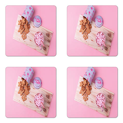 (Ambesonne Christmas Coaster Set of Four, Gingerbread Cookies Hot Chocolate with Pink Marshmallows and Candy Cane, Square Hardboard Gloss Coasters for Drinks, Baby Pink Multicolor)