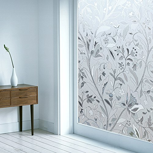 OMG_Shop 3D Static Cling Window Glass Films Sticker Waterproof Frosted Privacy Flowers Decorative Film No Glue Film Self Adhesive-Tulip 45x100cm