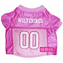 Mirage Pet Products Michigan Wolverines Jersey for Dogs and Cats, Large, Pink