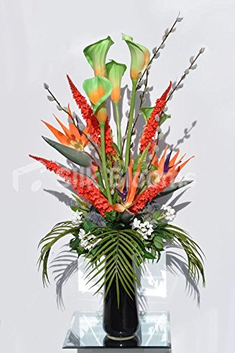 Tropical Bird of Paradise Flower, Calla Lily, Veronica, Thistle and Stephanotis Floral Table Arrangement by Silk Blooms Ltd