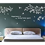 BestGrew® Trees Branches Birds White Wall Art Sticker Removable Vinyl Decal Mural Quote Home Decor DIY (White)