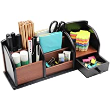 PAG Office Supplies Wood Desk Organizer Pen Holder Accessories Storage Caddy with Drawer, 8 Compartments, Brown