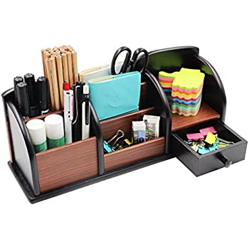 PAG Office Supplies Wood Desk Organizer Pen Holder Accessories Storage Caddy  With Drawer, 8 Compartments