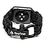 FIRELINE Apple Watch Band 42mm Replacement Paracord Watchband with Rugged Outdoor Survival Stainless Steel Shackle and Black Reflective 550 Paracord - Series 1, 2, 3 and Sport (Large)
