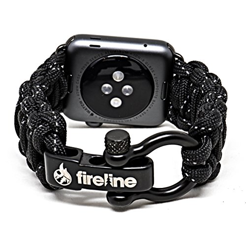 FIRELINE Apple Watch Band 42mm Replacement Paracord Watch Band with Rugged Outdoor Survival Stainless Steel Shackle and 550 Paracord - Series 1, 2, 3 and Sport (Black, X-Large 8