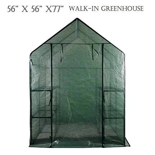 Portable Gardening Steeple Green House with PE Cover, 3 Tier 12 Shelf Waterproof Walk in Plant Green House,56'' L x 56'' W x 77'' H by SCYL