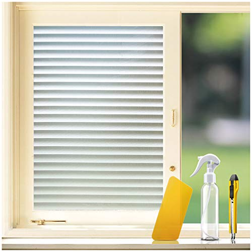 "KKDragon Frosted Glass Film Privacy Window Film 23.6""x78.7"" + Utility Knife + Spray Bottle + Squeegee Application Tool Kit (Non-Adhesive Static Cling Decorative Shutter Window Film)"