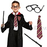 Blue Planet Fancy Dress  Deluxe Childrens Kids Boys Wizard Robe, Tie, Glasses & Wand Book Week Day Costume Outfit (Medium 7-9 Years)