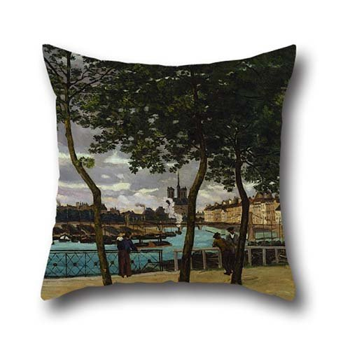Throw Cushion Covers 20 X 20 Inches / 50 By 50 Cm(both Sides) Nice Choice For Bar Seat,lounge,son,car,teens Girls,kids Boys Oil Painting Armand Guillaumin - View Of The Seine, Paris (Pet Plum Fashion)