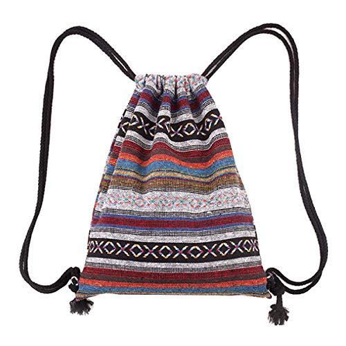 Monique Stripes Knit Drawstring Bag Sport Backpack Large Shoulders Bag Casual Daypack Purse Travel Tote Grey