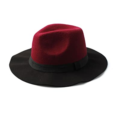 Accessoryo Women s Black and Burgundy Two Tone Fedora Hat with Ribbon Band 08cbc3c76b6e