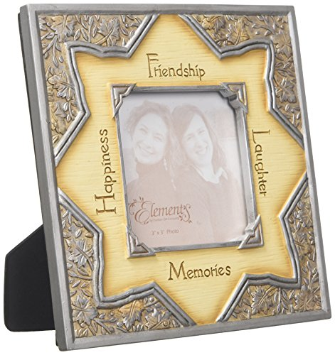 (Elements Friendship Picture Frame by Pavilion, 6-1/2-Inch, Holds 3 by 3-Inch Photo, Inscription Happiness Friendship Laughter Memories)