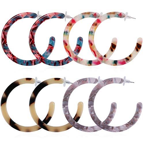 (Acrylic Hoop Earrings, Resin Earrings, Tortoise Hoop Earrings for Women Girls (4 Pairs Acetate Earrings, 4 Colors))