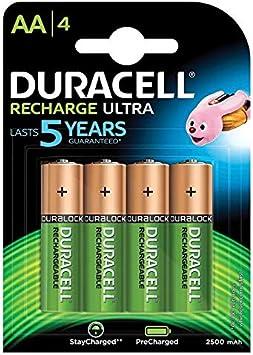 Duracell AA Pilas Recargables (2500 mAh, 4 Unidades)