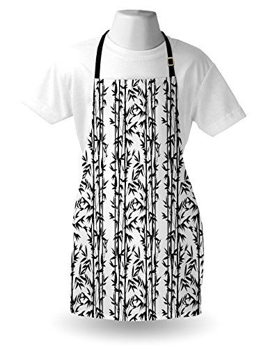 Lunarable Bamboo Apron, Monochrome Natural Inspirations with Bamboo Tree Growth Exotic Garden Zen Spa Art, Unisex Kitchen Bib Apron with Adjustable Neck for Cooking Baking Gardening, Black White by Lunarable (Image #2)