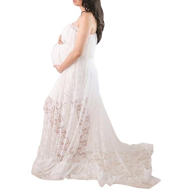 BOZEVON Fotografía Vestido de Maternidad, Gasa de Encaje Largo Elegante Vestido de Manga Corta Embarazada