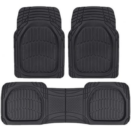 Majic Deep Tray Heavy Duty Rubber ENFORCER FLOOR MATS for All Weather Protection 3 PCS (BLACK)