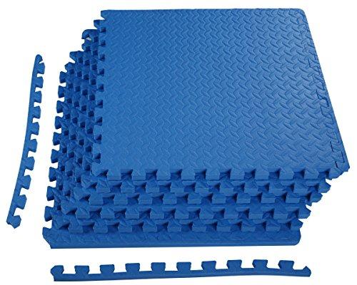 BalanceFrom Puzzle Exercise Mat with EVA Foam Interlocking Tiles (Blue)