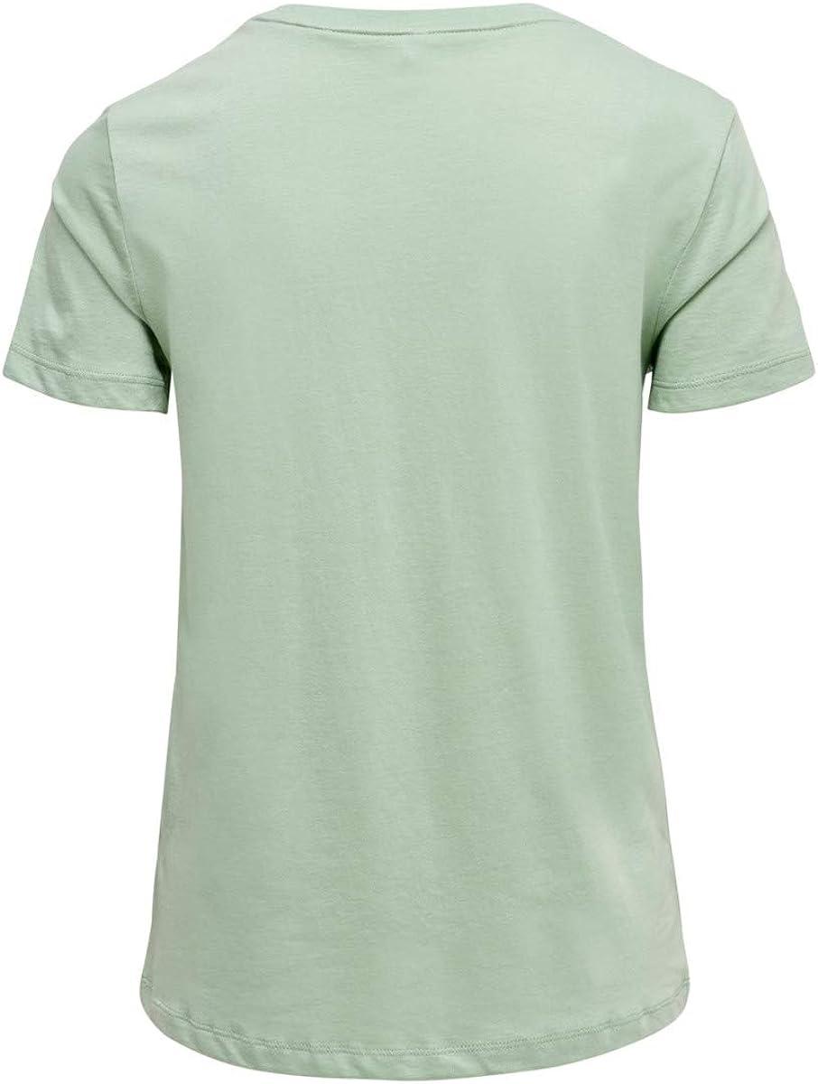 Only T-Shirt Polly Donna Verde Girocollo Taschino con Stampa broc e Ricamo 15199744