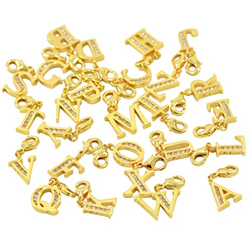 Lobster Clasp Clip On Initial Charms Dangle Cubic Zirconia Letter B, Yellow Gold Plating