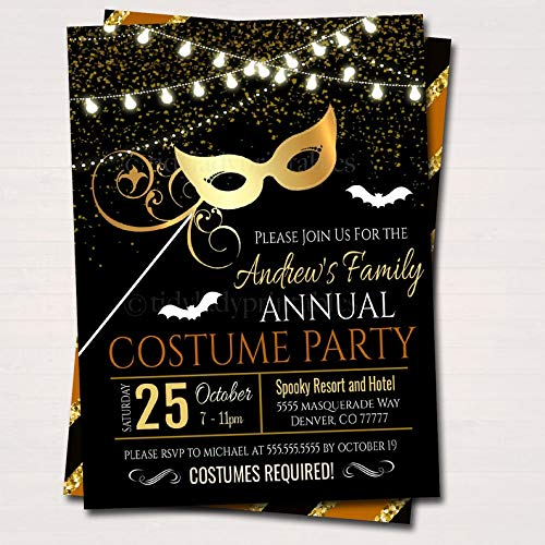 Printable Halloween Costumes Party Invitations - EDITABLE Halloween Masquerade Costume Party Invitation,