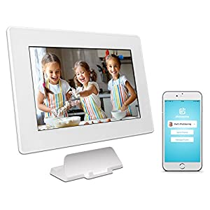 PhotoSpring (32GB) 10in WiFi Digital Photo Frame for Videos & Pictures, Touch Screen, Battery, iPhone & Android App, HD Screen, White - 32,000 photo capacity