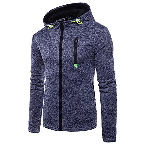 Hakjay Mens Sport Lightweight Zip-up Hooded Sweatshirt (Blue, XXL)