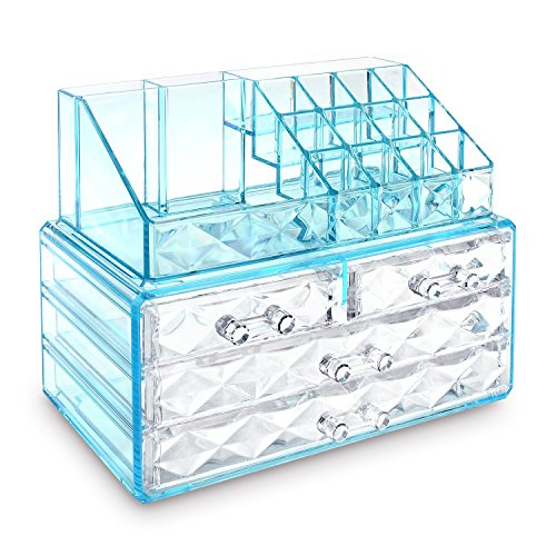 Ikee Design Jewelry and Cosmetic Storage Makeup Organizer Two Pieces Set, Blue Diamond -