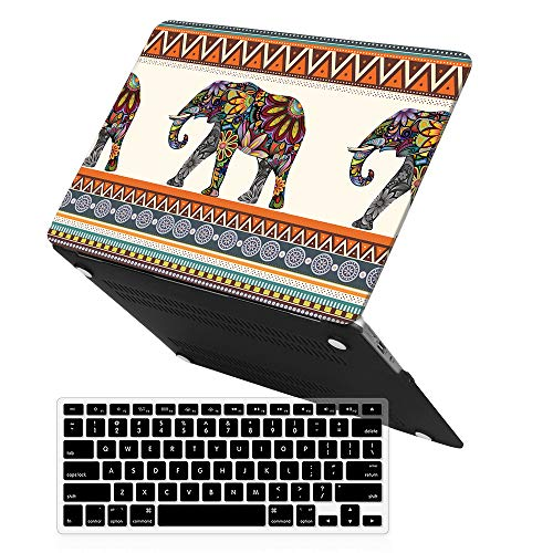 iCasso MacBook Air13 Inch Case with Keyboard Cover Art Printing Matte Hard Shell Plastic Protective Cover for MacBook Air 13 Inch Model A1369/A1466 -Bohemian Elephant (Case Retina Elephant Pro Macbook)